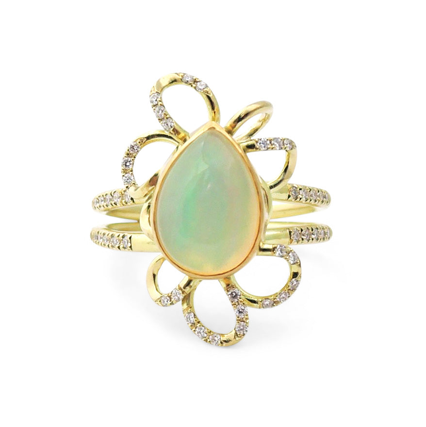 Diamond Pavé Opal Ring