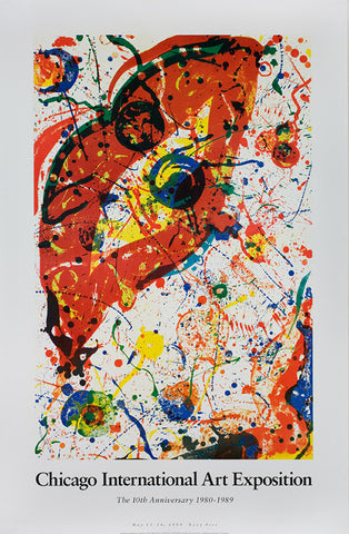 "Sam Francis poster: ""Chicago International Art Exposition, 'The 10th Anniversary 1980-1989'. May 11 - 16, 1989"""