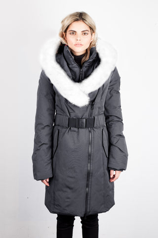 Eva-B Long Plus Winter Jacket in Grey