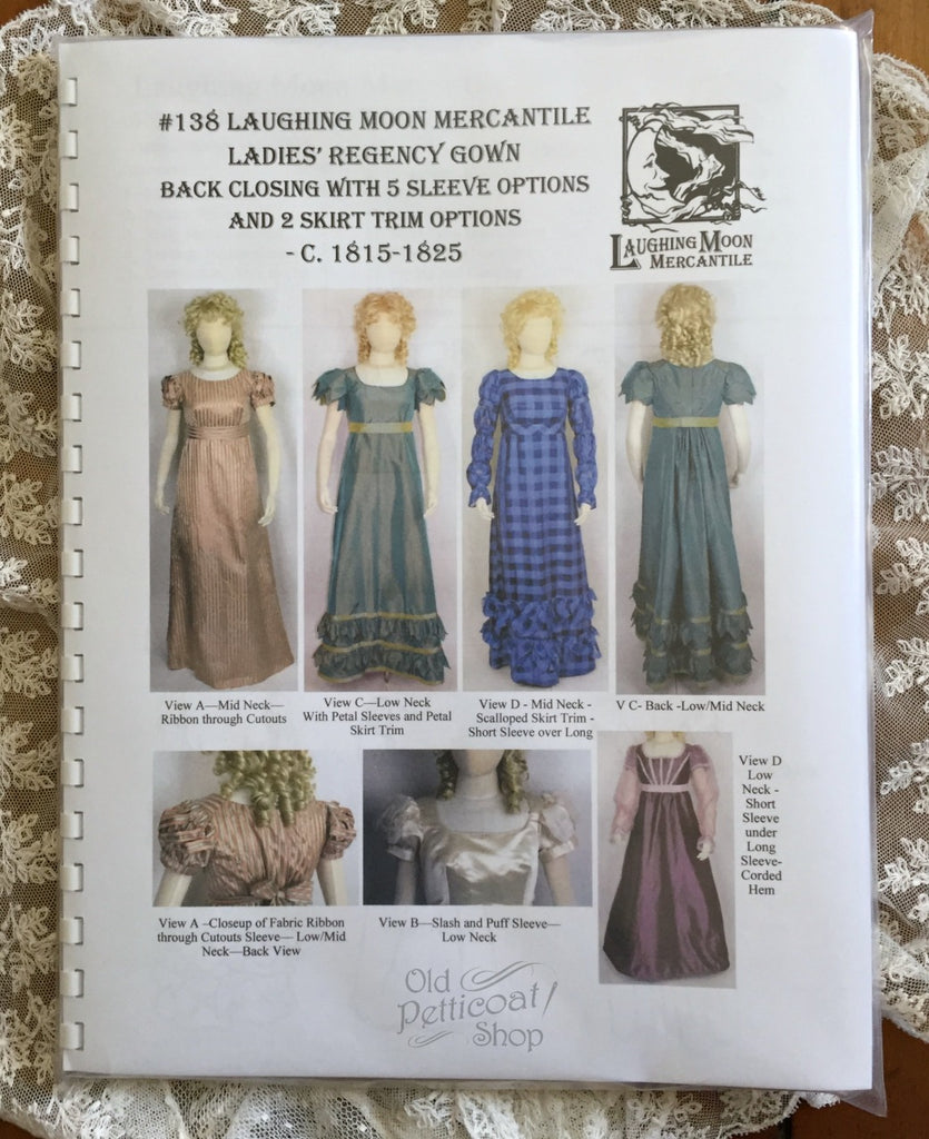 Laughing Moon #138 Ladies' Back Closing Regency Gown Pattern
