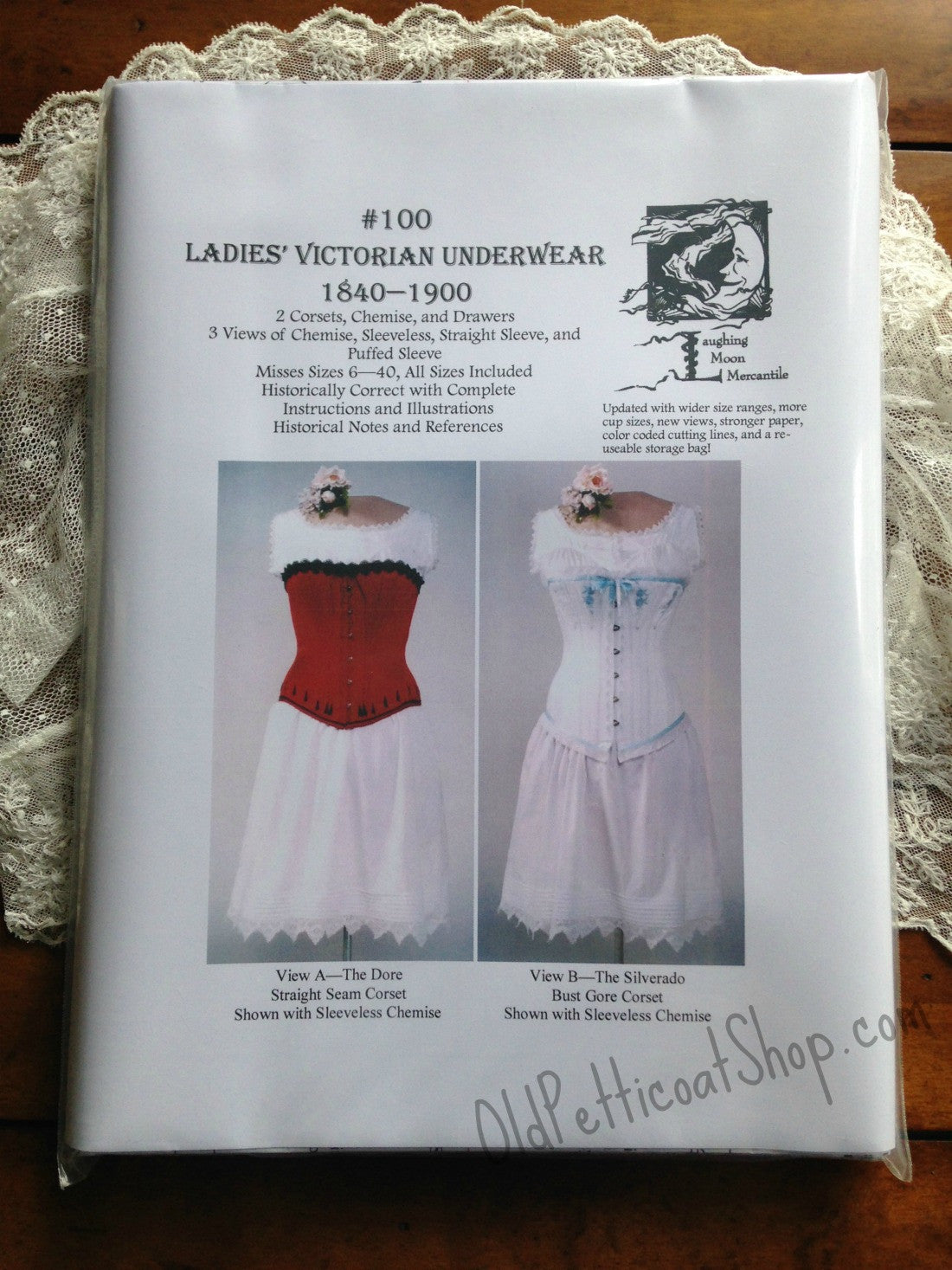 Victorian Style Corsets- Custom, Costume & Patterns Laughing Moon #100 Ladies Victorian Underwear Pattern $18.00 AT vintagedancer.com