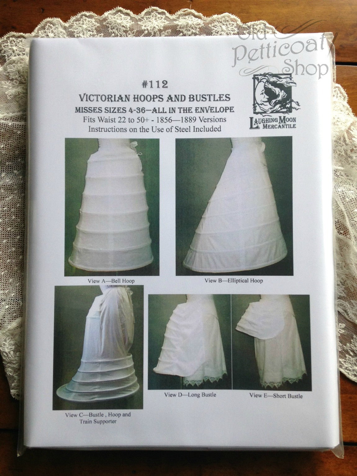 Victorian Dresses- Patterns, Costumes, Custom Dresses Laughing Moon #112 Victorian Hoops & Bustles Pattern $18.00 AT vintagedancer.com
