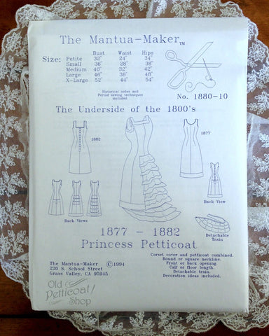 Mantua Maker 1877-1882 Princess Petticoat Pattern
