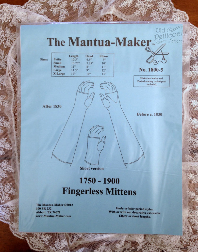 Mantua Maker 1750-1900 Fingerless Mittens Pattern