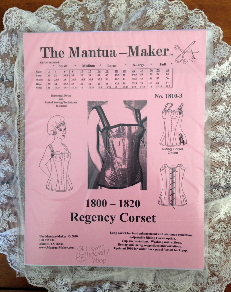 12d678bfe35 Mantua Maker 1800-1820 Regency Corset Pattern – Old Petticoat Shop