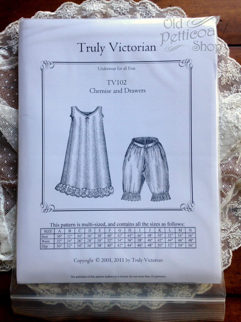 Truly Victorian TV102 Chemise and Drawers Pattern