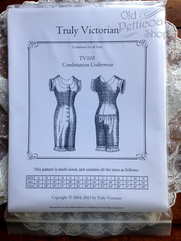 Truly Victorian TV105 Combination Underwear Pattern
