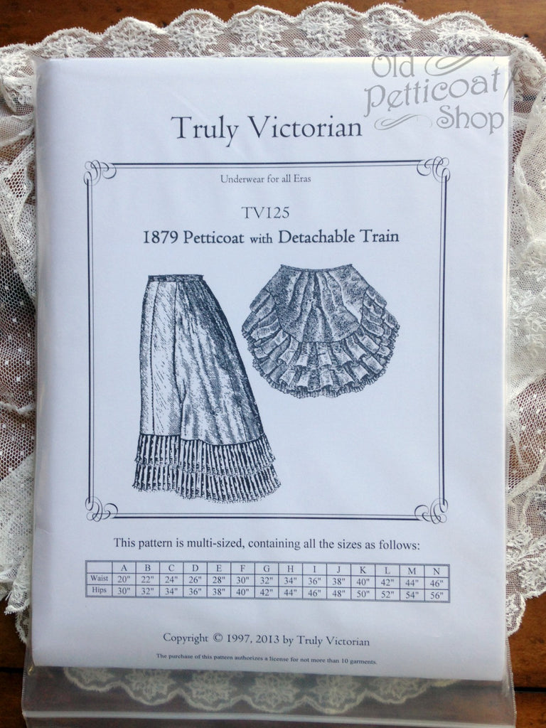 Truly Victorian TV125 1879 Petticoat Pattern with Detachable Train