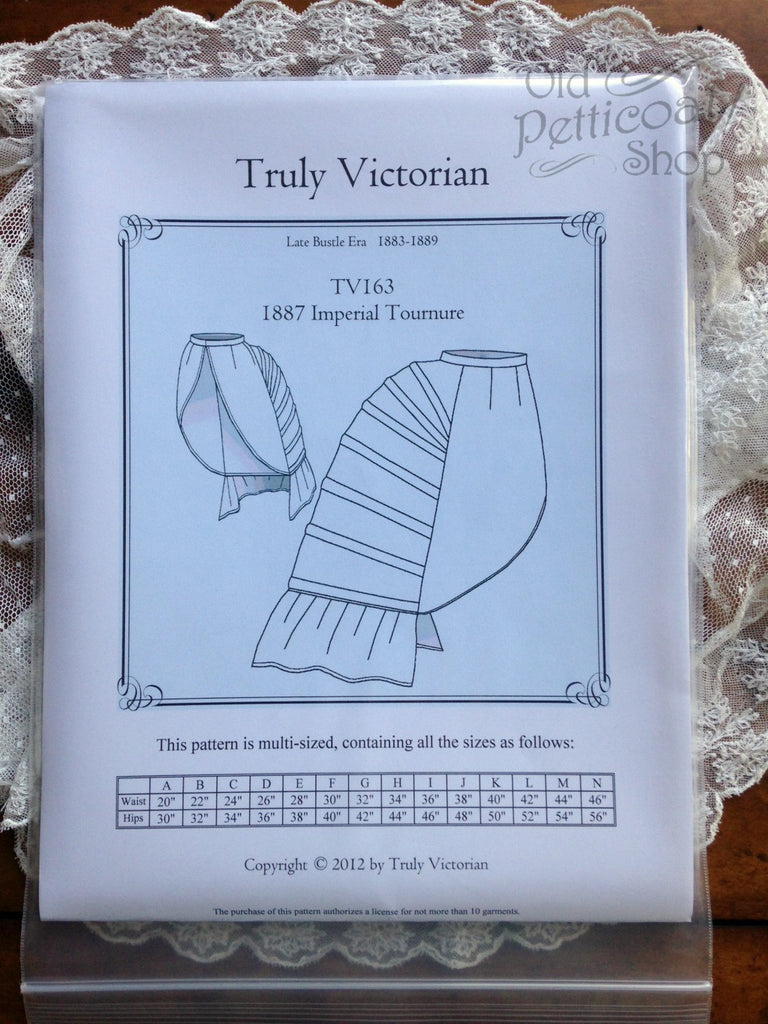 Truly Victorian TV163 1887 Imperial Tournure Bustle Pattern