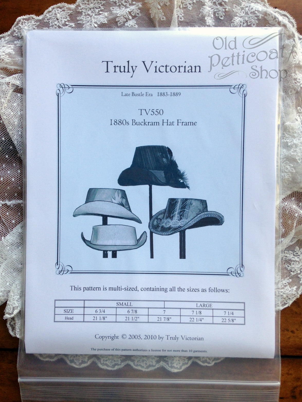 Victorian Style Hats, Bonnets, Caps, Patterns Truly Victorian TV550 1880s Buckram Hat Frame $11.00 AT vintagedancer.com