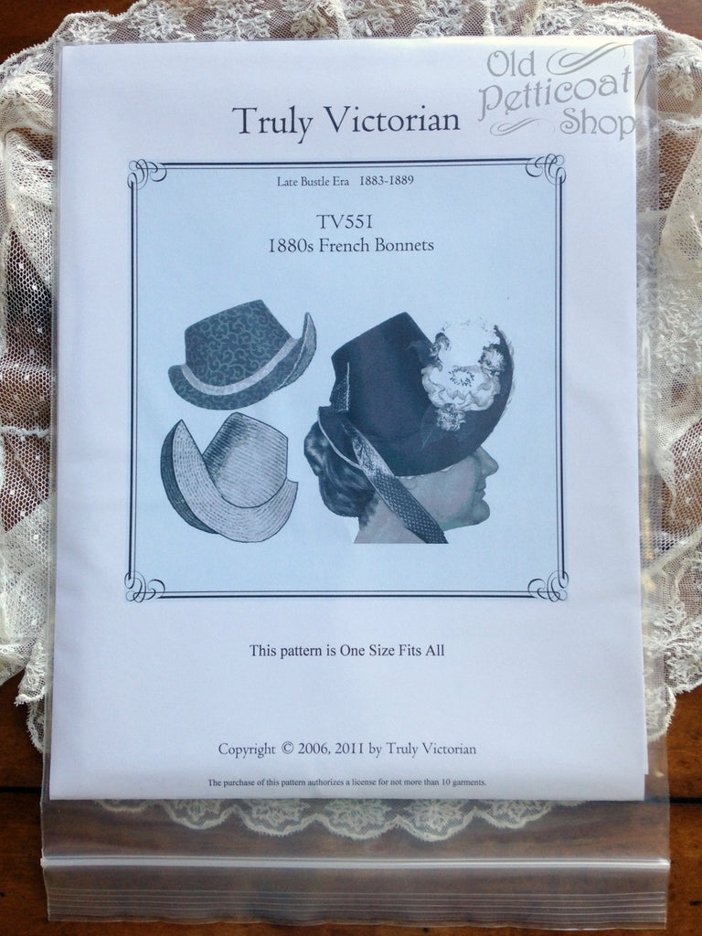 Truly Victorian TV551 1880s French Bonnet Pattern – Old Petticoat Shop 4e93a1fb614