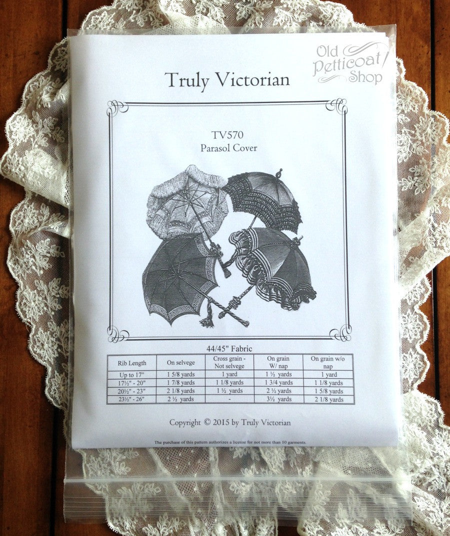 Victorian Parasols Truly Victorian TV570 Parasol Cover Pattern $13.00 AT vintagedancer.com