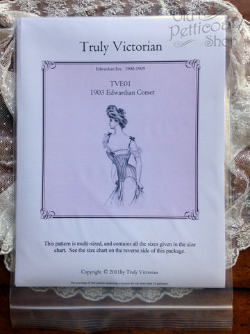 Truly Victorian TVE01 1903 Edwardian Corset Pattern
