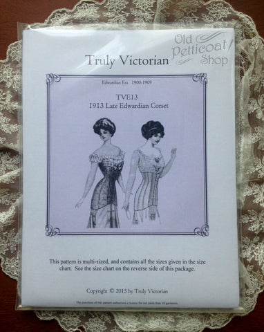 Truly Victorian TVE13 1913 Late Edwardian Corset Pattern