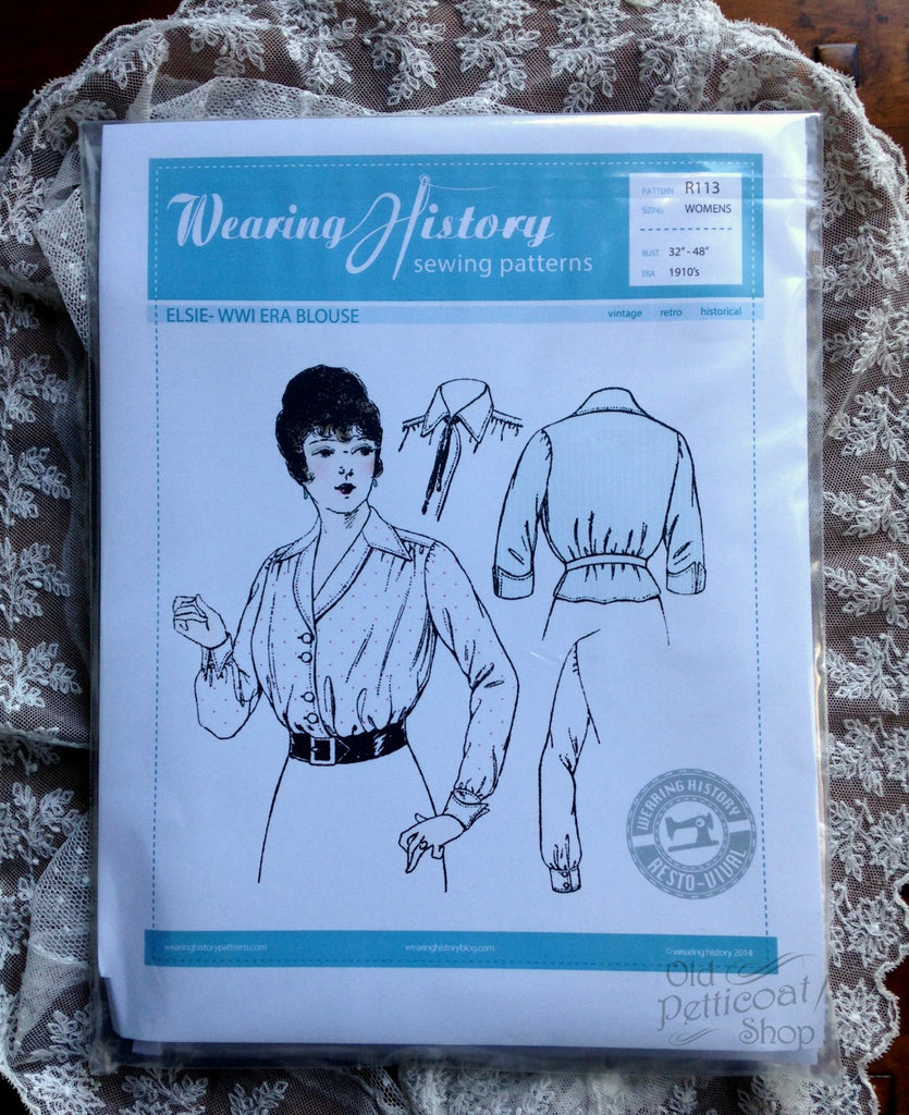 Wearing History #R113 - 1910s WWI Era Elsie Blouse Pattern