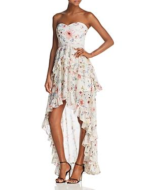AQUA Floral Strapless High/Low Maxi Dress