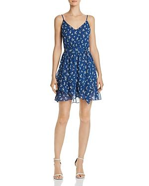 AQUA Ruffle-Hem Floral Print Dress