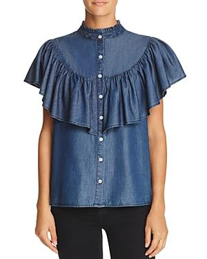 Aqua Women's Ruffled Chambray Top