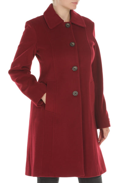 ANNE KLEIN WOMEN'S RED WOOL/CASHMERE BLEND COAT, 6
