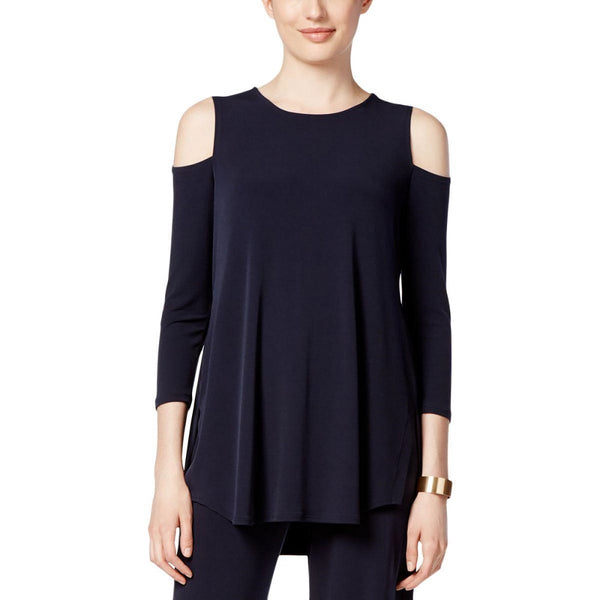ALFANI WOMEN'S COLD-SHOULDER TOP DEEP NAVY, SIZE LARGE