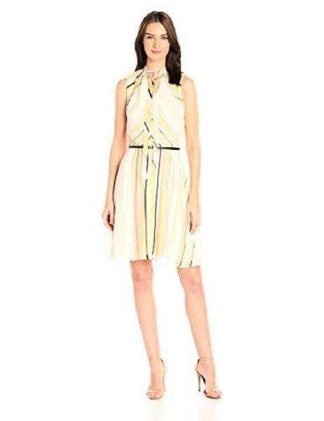 CALVIN KLEIN WOMEN'S BELTED STRIPED A-LINE DRESS KHAKI MULTI 16