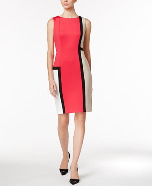 CALVIN KLEIN WOMEN'S COLORBLOCKED SHEATH DRESS LIPSTICK MULTI, 2P