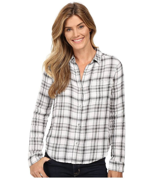 Calvin Klein Women's Grey Plaid Top, Large