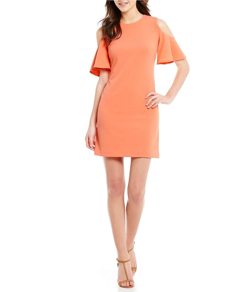 c9f4a87db1ca CALVIN KLEIN WOMEN S OFF-THE-SHOULDER RUFFLE SHEATH PEACH DRESS