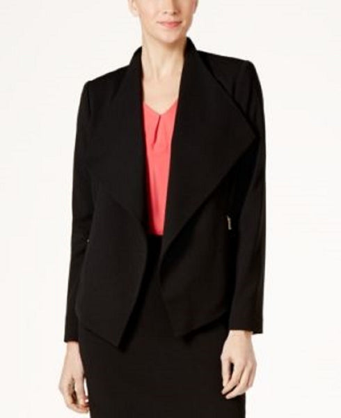 CALVIN KLEIN WOMEN'S WING-COLLAR BLAZER BLACK, 6