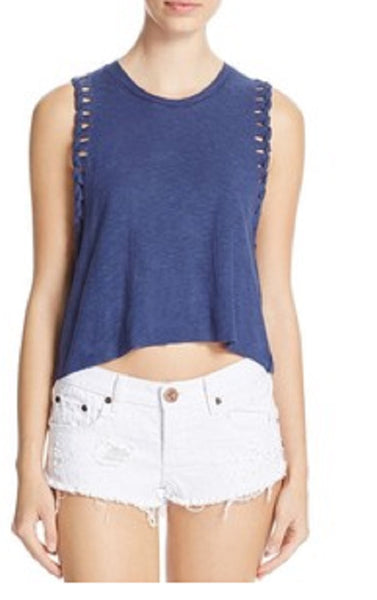 Michelle by Comune Navy Braided Cuff Tank