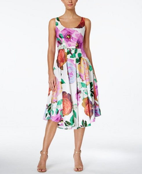 Calvin Klein Women's Cotton Floral-Print Fit & Flare Dress, 6
