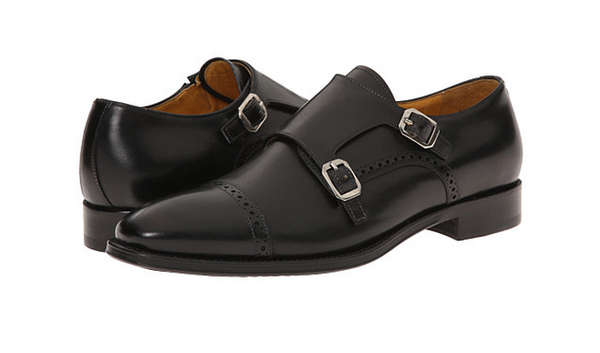 Gordon Rush Black Leather Cap Toe Double Monkstrap Oxford