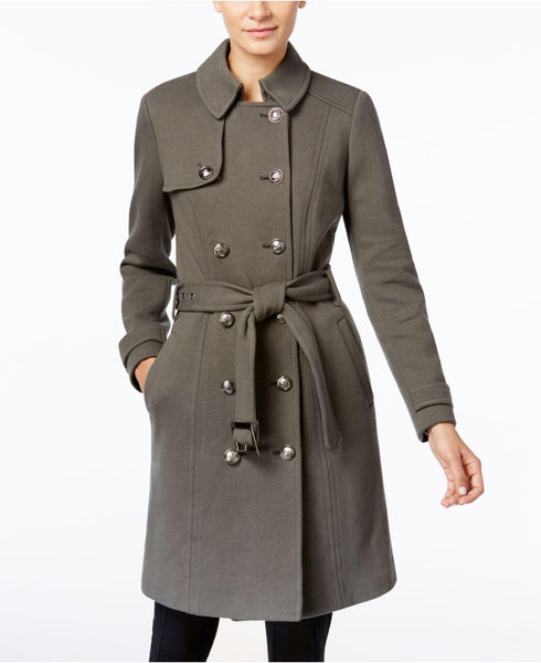 INC International Concepts Women's Green Military Trench Coat, XS