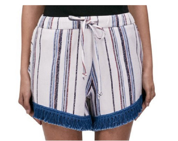 N / Nicholas  Stripe Cotton/Linen Fringe Shorts