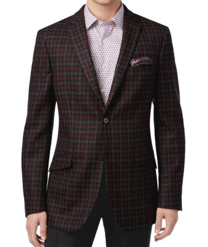 Tallia Men's Charcoal/Red Windowpane Wool Blazer