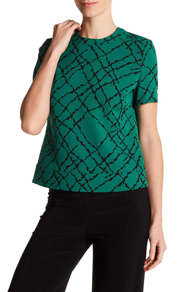 ANNE KLEIN WOMEN'S GREEN PRINTED BUTTON-BACK TOP, 6