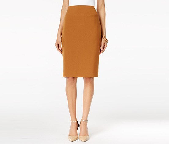 ALFANI WOMEN'S SIENNA BROWN PENCIL SKIRT, 12