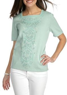 ALFRED DUNNER WOMEN'S EMBROIDERED AQUA SWEATER, XL