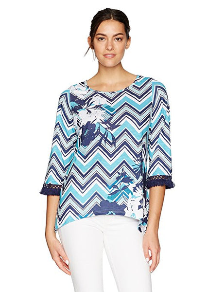 ALFRED DUNNER WOMEN'S ZIG ZAG PRINT KNIT TOP, XL