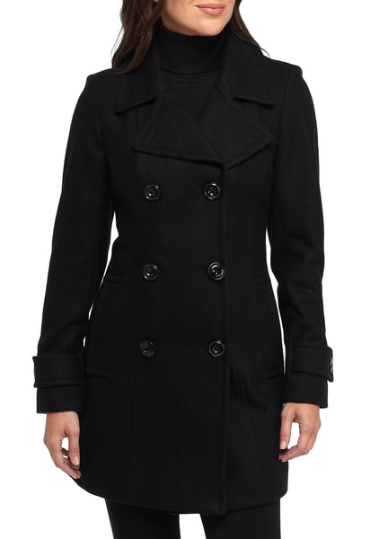 ANNE KLEIN WOMEN'S BLACK DOUBLE-BREASTED LONG PEACOAT, MEDIUM