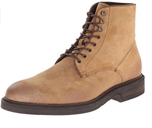 a.Testoni Tan Suede Lace Up Men's Boots