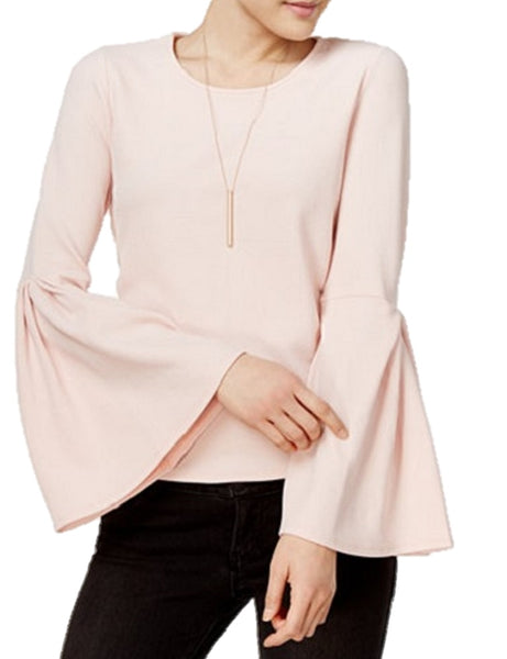 BAR III CREPE BELL-SLEEVE TOP BALLET PIN XL