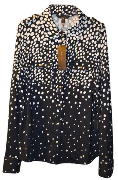 BCBGmaxazria Womens Navy/White Multi Dot Blouse