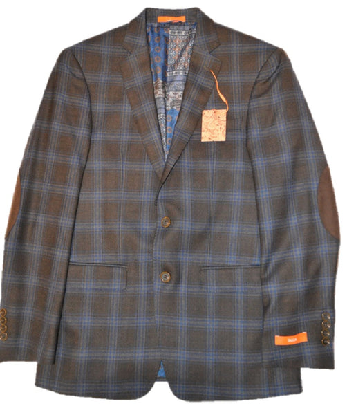 Tallia Men's Brown/Navy Windowpane Wool Blazer