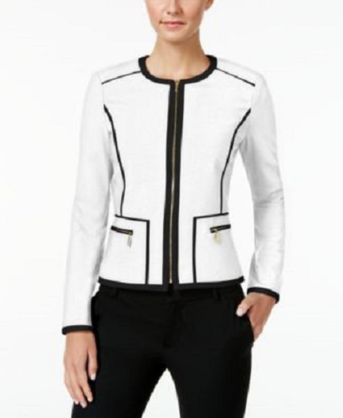 CALVIN KLEIN WOMEN'S PIPED ZIP-UP BLAZER WHITE & BLACK, 8
