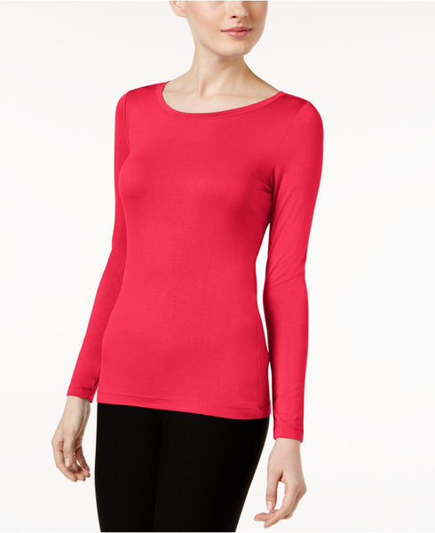 CABLE & GAUGE LONG SLEEVE KNIT TEE JAZZY PINK, MEDIUM