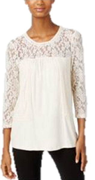 CABLE & GAUGE WOMEN'S LACE KNIT PEASANT TOP, LARGE