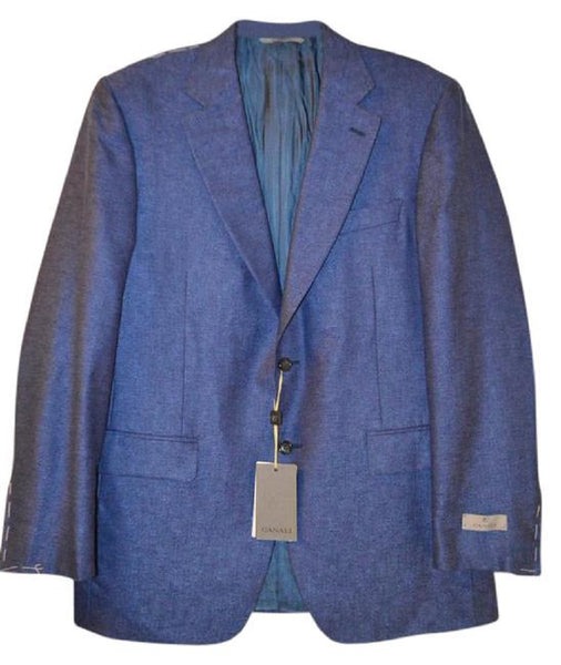 Canali Men's Blue Silk/Cashmere 2-Button Blazer