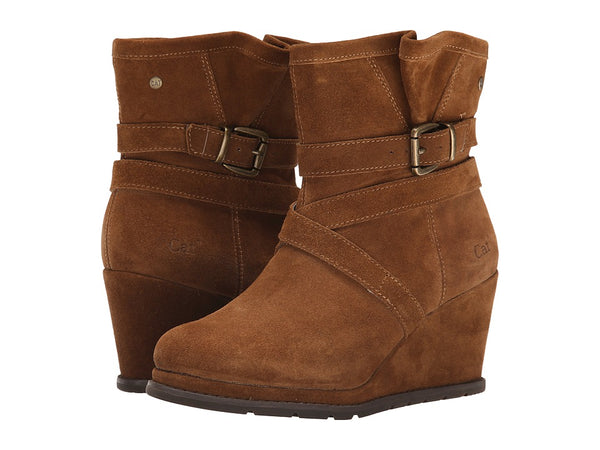 Caterpillar Women's Brown Suede Wedge Boots