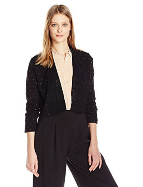 CALVIN KLEIN WOMEN'S RHINESTONE SHRUG CARDIGAN BLACK, XL